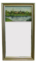 Eglomise Large Color Print Mirror - Silver