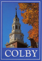 Colby Postcard FALL LIB TOWER