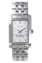 Bulova Colby Square Watch with Silver Link Bracelet for Women