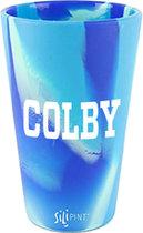 Silipint® Blue Retro Swirl Pub Glass