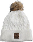 Ahead Colby C Knit Winter Beanie with Faux Fur Pom
