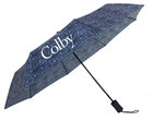 Storm Duds Colby Navy Tweed Pattern Folding Umbrella